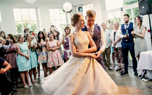 Bride and groom first dance at Woodhill Hall