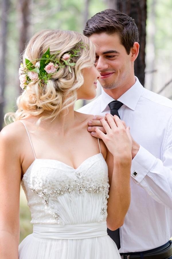Bride turning to see groom