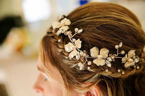 Flower band in bride's hair