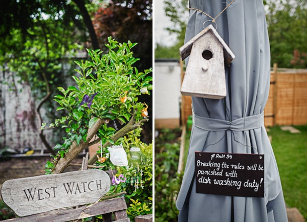 Sign and birdhouse