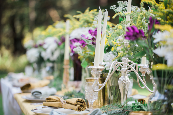 Candlesticks on wedding table