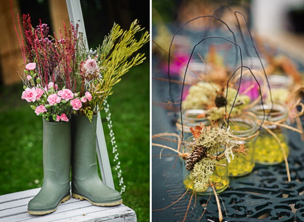 Flowers in Wellington boots and small jars of dried flowers