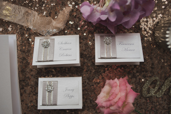 Metallic wedding name place cards