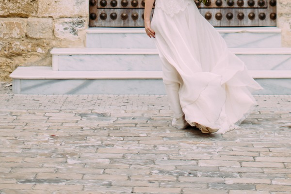 Bottom of bride's dress