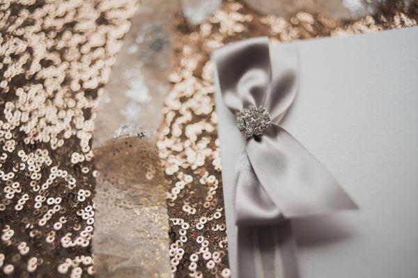 Bow on wedding stationery