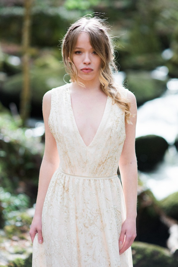 Bride wearing lace detailed wedding dress