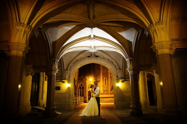 Bride and groom in Clifton College - Picture by Martin Dabek Photography