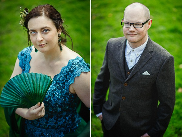 Bride with blue top and groom
