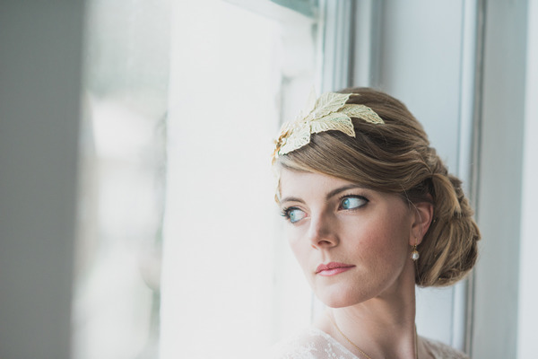 Bride with leaf hair accessory
