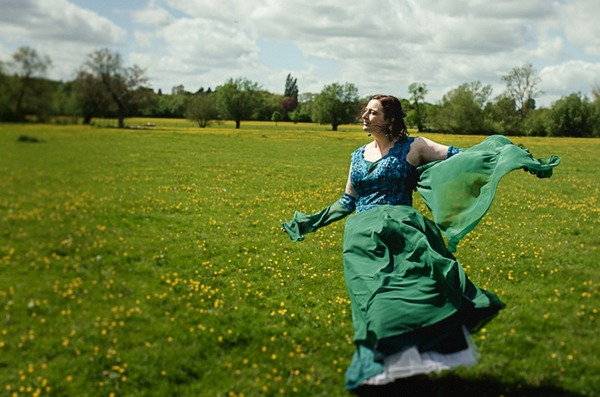 Bride wearing green wedding dress