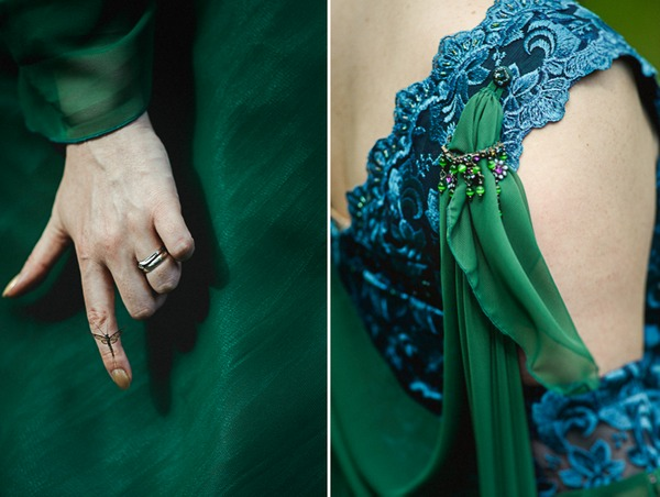 Detail on bride's green wedding dress