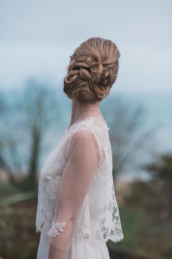 Bride's updo wedding hairstyle