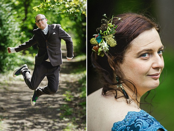 Groom jumping and bride's hair accessory