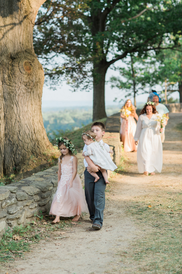 Bridal party arriving at ceremony at Letchworth State Park