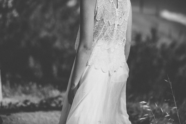 Lace detail on back of bride's dress