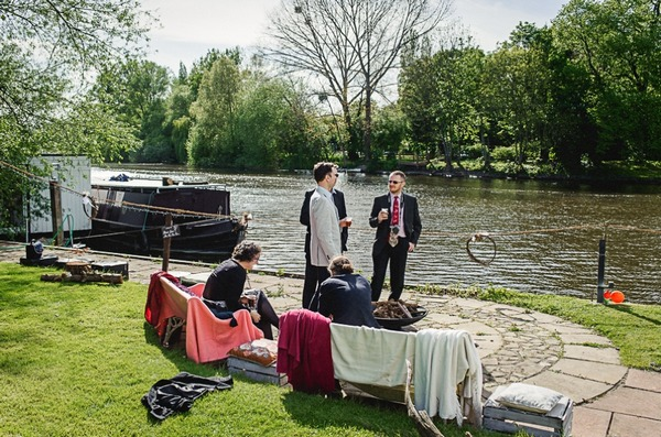 Wedding guests by River Thames
