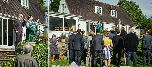 Wedding speeches in garden of house by River Thames