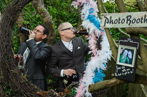 Men drinking at fantasy wedding