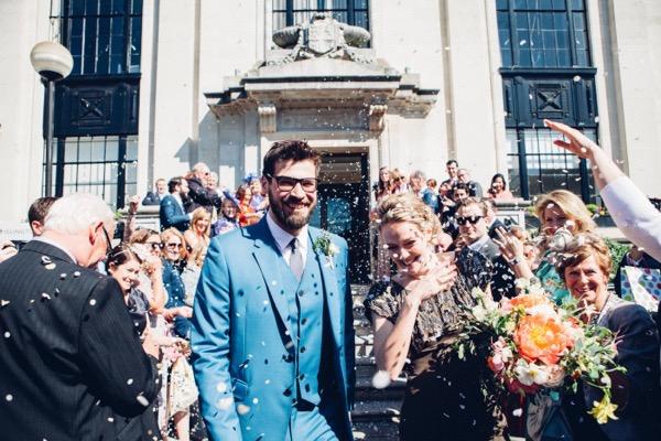 Wedding confetti shot outside Islington Town Hall