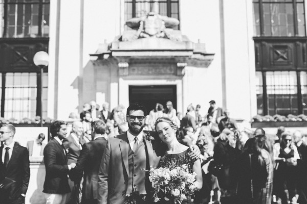 Bride and groom outside Islington Town Hall