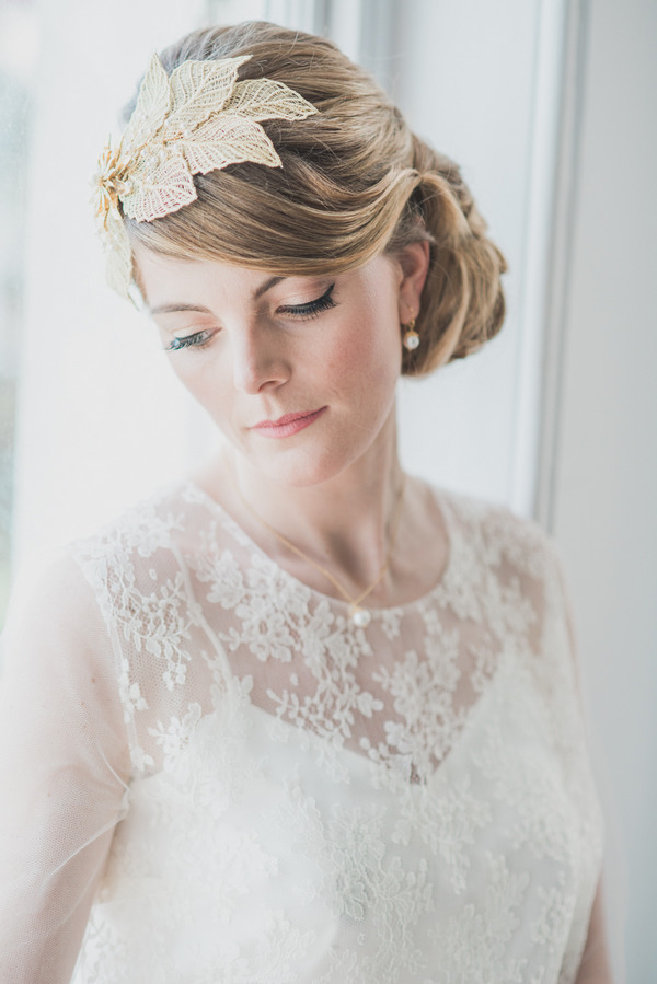 Bride with lace detailed wedding dress