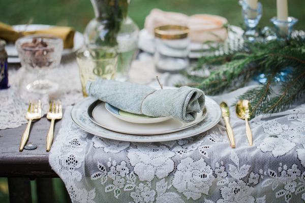 Napkin on top of vintage dinner plates