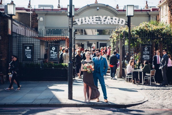 Bride and groom outside the Vineyard in Islington