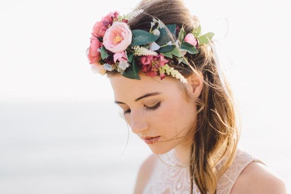 Bride's bohemian style flower crown