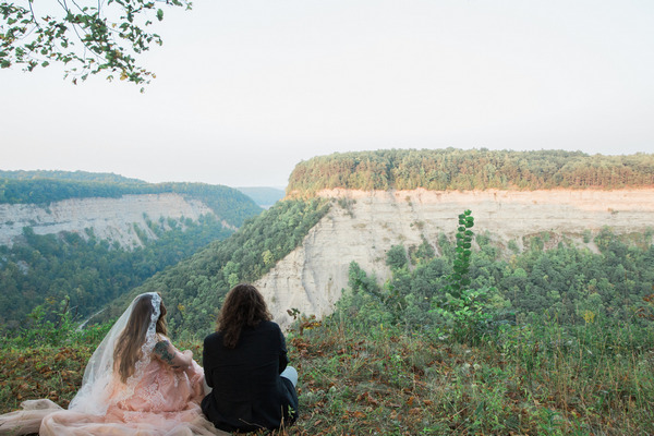 Bride and groom looking at view from Letchworth State Park