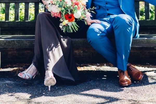 Bride and groom's legs