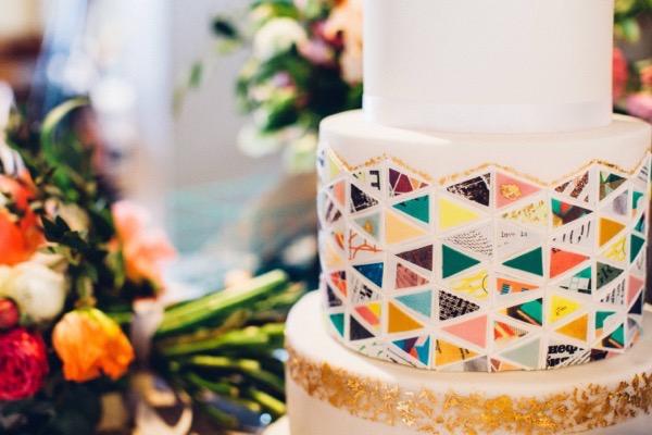 Colourful geometric wedding cake