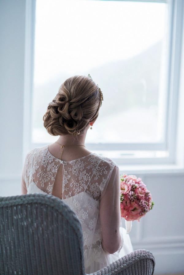 Back of bride's lace detailed dress