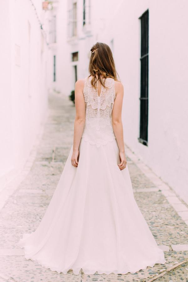 Back of bride's bohemian style wedding dress