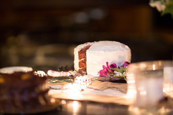 Wedding cake with slice missing