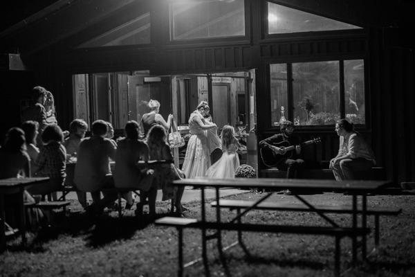 Evening wedding reception at Trailside Lodge, Letchworth State Park