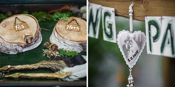 His and hers on lg slices and heart with wedding picture