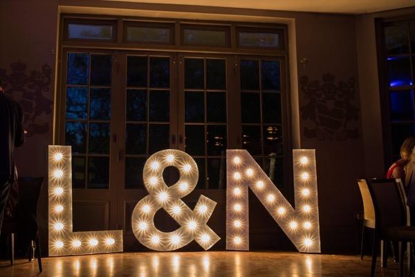 Large illuminated wedding letters