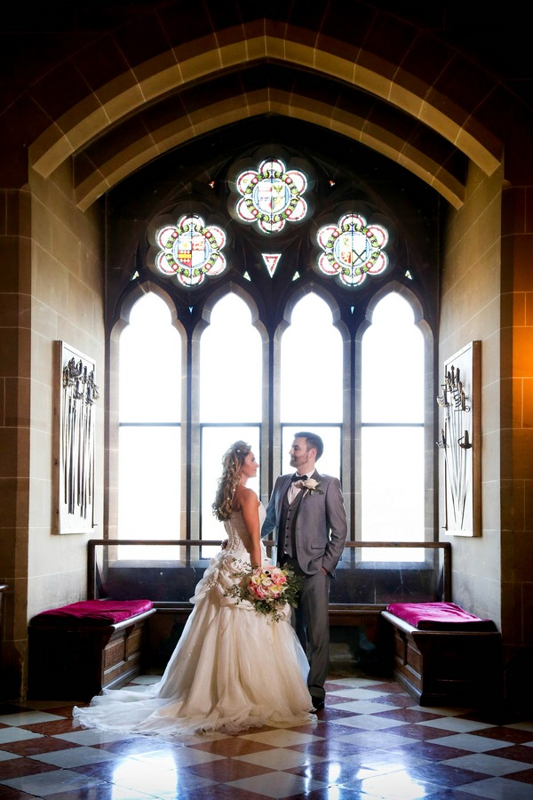 Bride and groom in the Great Hall at Warwick Castle