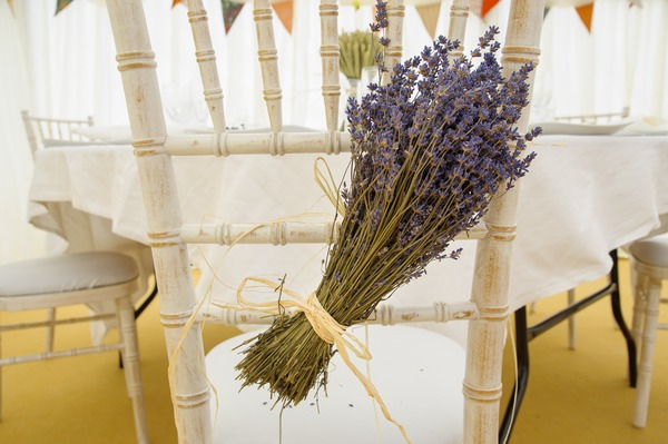 Lavender tied to back of wedding chair