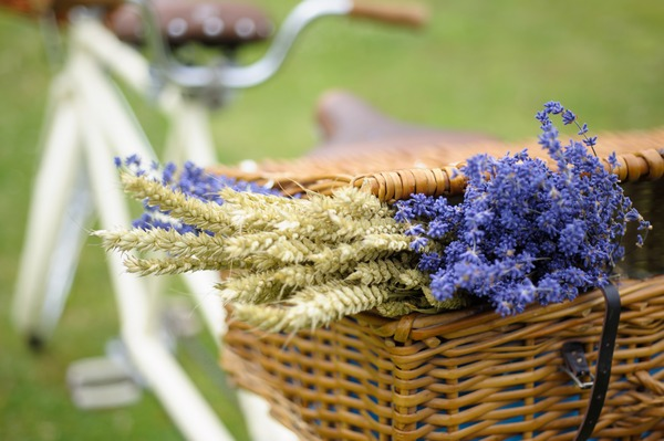 Lavender wedding decorations in basket