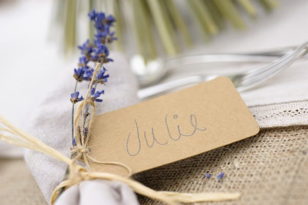 Lavender wedding table setting
