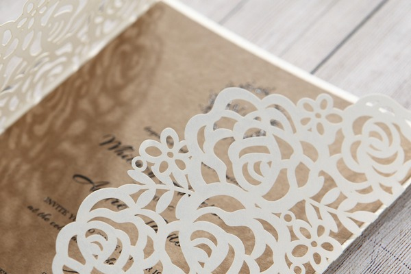 Wedding invitation with laser cut detail
