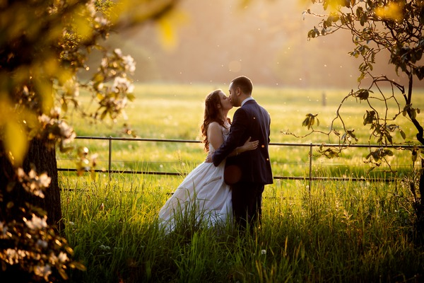 Bride and groom kissing in long grass - Picture by Alex Toze