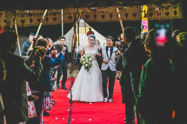 Uncle walking bride down aisle