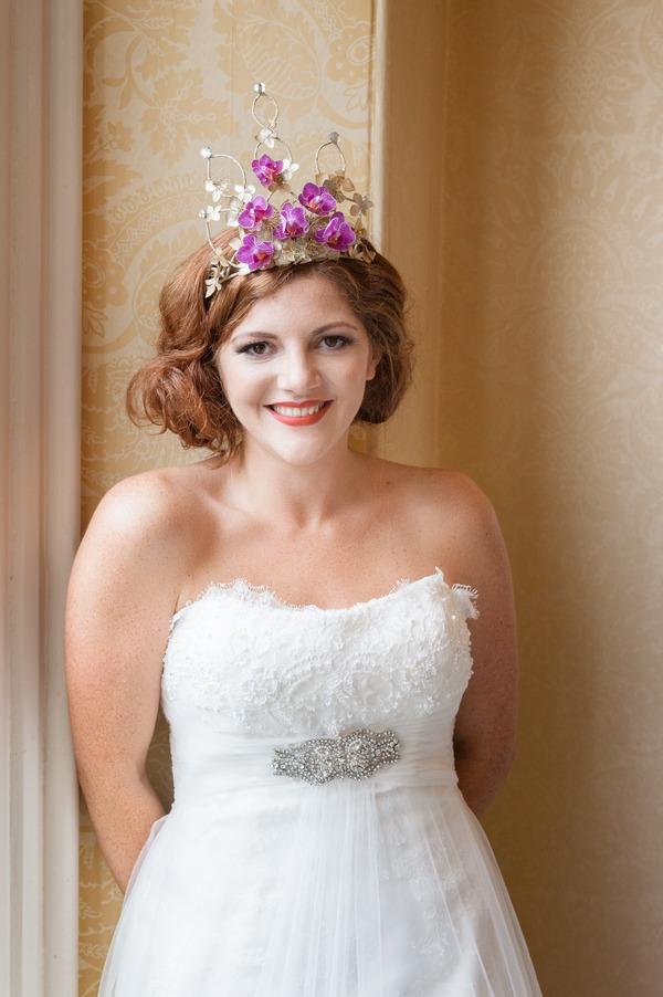 Bride wearing headpiece