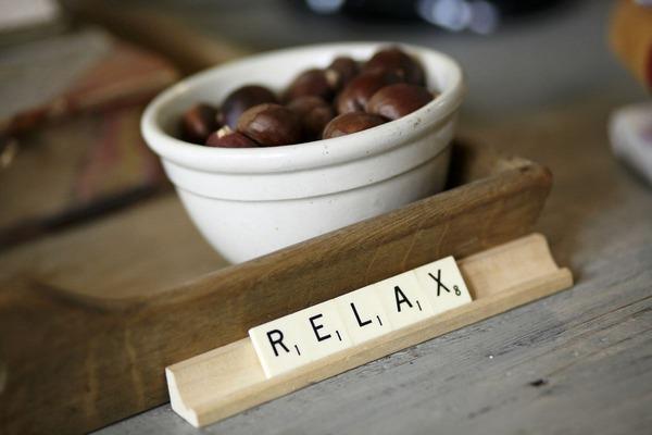 Relax spelt from Scrabble tiles