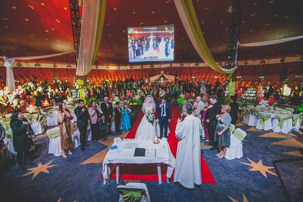 Wedding ceremony in Tony Caluga Circus tent