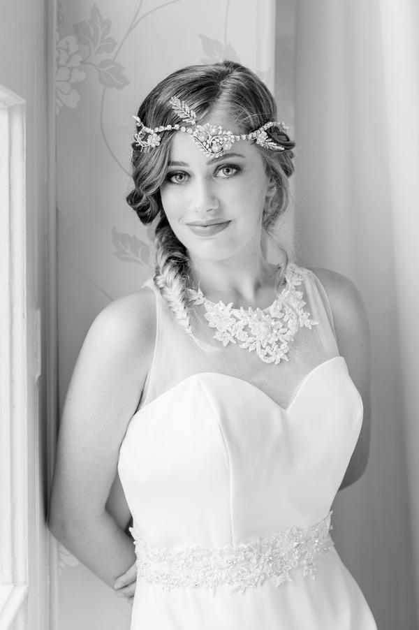 Bride with boho headband and large necklace