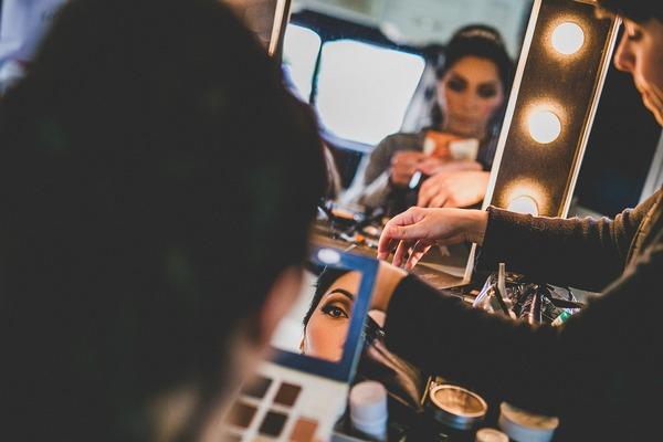 Bride looking at make-up