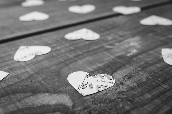 Hearts cut from sheet music